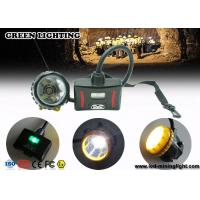 LED Two Charging Way IP68 Miners Cap Lamp with Warning Light , 28000lux Superbright Manufactures