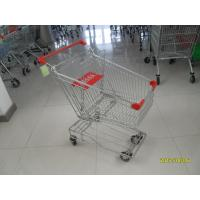 Asian Type 80L Wire Shopping Carts shopping trolley with red plastic parts Manufactures