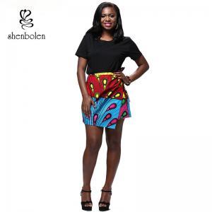 Summer Lady African Print Maxi Skirt Irregular Design Belt Skirt Batik Cloth Manufactures
