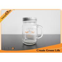 China 12oz Clear Empty Glass Jars For Drinking , Custom Unique Glass Mason Jar with Handle on sale