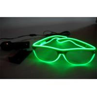 Neon Transparent Green Lighting El Wire Sunglasses / LED Light Up Sunglasses Manufactures