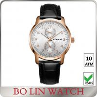 China Leather Band Mens Mechanical Automatic Watch With Stainless Steel Case on sale