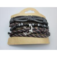 Man Leather Bracelet Elastic Cord With Wood Beads in YiWu Buy Fashion Jewelry Manufactures
