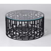 China Black Metal Base Living Room Coffee Table With Clear Tempered Glass on sale