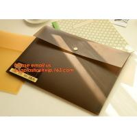 PP Polypropylene Plastic Office Stationery, PP Translucent plastic button document file folder bag with line structure for sale