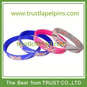 China Custom printed UK and London logo silicone bracelet, silicone wristband on sale