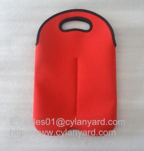 China Neoprene wine bottle cooler handbag 2 bottle pack, neoprene bottle cooler sleeve, on sale