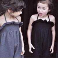 Wholesale summer Girls fashion jumpsuit children customizable clothing suspenders jumpsuit