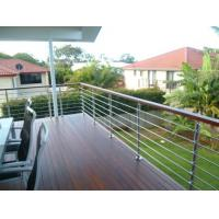 wood handrail stainless steel rod railing for staircase / terrace design Manufactures