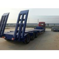 Low-bed Semi Trailer Truck 3 Axles 70Tons 15m for Loading construction machine Manufactures