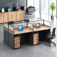 Fashion Wooden Cubicles Office Furniture Partitions / 4 Person Workstation Desk Manufactures