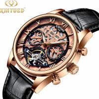 China Genuine Leather Skeleton Mechanical Watch Gold Case  Water Resistant on sale