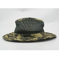 Cotton Mesh Camo Fishing Bucket Hats For Men , Customized Label