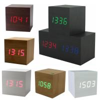 Hot USB/AAA Powered Cube LED Digital Alarm Clock Square Modern Sound Control Wood Clock Display Temperature Night Light Manufactures
