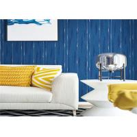 Blue Washable Contemporary Textured Wallpaper Embossed For Wall Background Manufactures