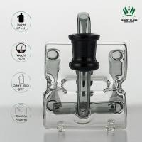 Grey Double Barrel Recycler Glass Bong Ash Catcher , 18.8mm Male Glass Smoking Ash Catcher Manufactures
