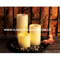 Ivory Wax Straight Edge Flameless LED Candles With Rock and Round Plastic Tray Manufactures