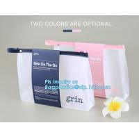 Standup Cosmetic PVC Bag With Slider, Promotional PVC Toiletry bag with zipper and slider, daily use of plastic bag with Manufactures