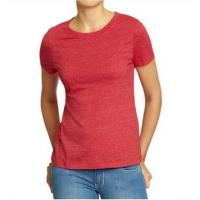 Solid Color Womens Hemp Cotton Clothing Red Plain T Shirt OEM Service Available Manufactures