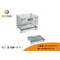 China Foldable Wire Mesh Storage Bins Durable Industrial Galvanized Steel Cage on sale