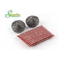 Quality Elastic Sponge Spiral Stainless Steel Scouring Ball For Metal Kitchenware Strong for sale