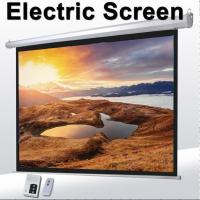 1:1 60Motorized Projector Screen With Remote Control,Matte White Fabric Screen For Movie Theater Manufactures