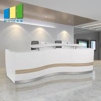 Wooden Office Reception Desk / Comfortable Mesh Office Chair Curved Round Painting Glass Manufactures