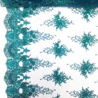 Green Color Teal Spirit Floral Bridal Beaded Lace Fabric On Mesh 100% Polyester Manufactures
