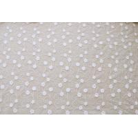 51'' Width White Embroidered Tulle Nylon Lace Fabric , Floral Stretch Lace Fabric Manufactures