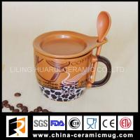 10OZ belly ceramic coffee cup with spoon and lid Manufactures