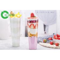 China Straw Slotted Hard Clear Plastic Cups With Lids No Deformation No Flavor on sale