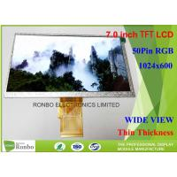 China 7 Inch TFT LCD Display High Luminance 1024 X 600 Resolution RGB 50 Pin Color LCD Module on sale
