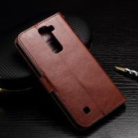 Wallet Stand Lg K7 Leather Cases Slim Design Brown Crazy Horse Drop Protection Manufactures