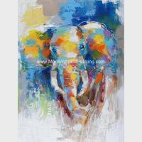 Abstract Colorful Elephant Painting On Canvas / Animal Print Canvas Wall Art Manufactures