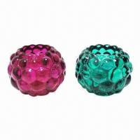 Colorful glass candle holders with flower design Manufactures