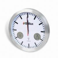 433MHz Thermometer Wall Clock, Measuring 30 x 4.5 x 30cm, Made of Aluminum and Glass Manufactures