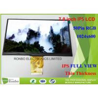 7.0 Inch Tablet LCD Screen 50pin RGB Resolution 1024 * 600 IPS LCD Display Manufactures