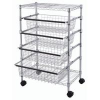 SS304 Wire Utility Cart With 4 Adjustable Drawers & Wheels for Easier Mobility Manufactures
