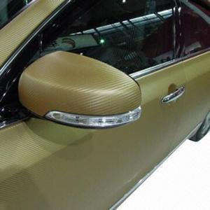 3D Golden Carbon Fiber Car Wrapping, Protection PVC Films Manufactures
