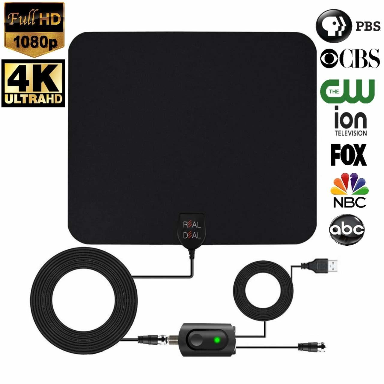 Ultra Thin HDTV Antenna Indoor Support 1080P/4K TV 50-75 Miles Range with Amplifier Manufactures