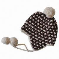 Women's Knitted Hat/Chullo with Jacquard Pattern, Earflap, Pompom and Plait Manufactures