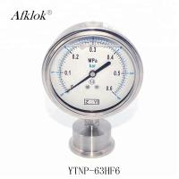 China Stainless Steel 63mm bottom connect Oil filled Sanitary Type Pressure Gauge on sale