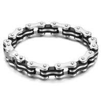 China Sliver Mens Bike Stainless Steel Chain Bracelets 1420153  on sale