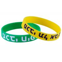 Silk Printed Rubber Silicone Bracelets Custom Silicone Products Green / Yellow Manufactures