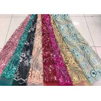 Embroidered Sequin Lace Fabric , Floral Tulle Fabric For Fashion Party Gown Dress Manufactures