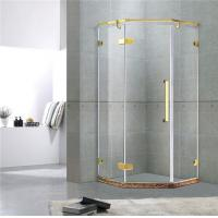 Golden Diamond Type Frameless Shower Cubicles Hinged  10MM Tempered Glass CE / EN12150 Manufactures