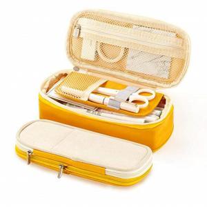 Big Yellow Zipper Pencil Bag Holder Box High Capacity Multi Functional Manufactures