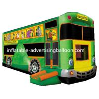 Giant Bus Inflatable Castle Bouncer Green For Rental Manufactures