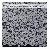 Floral Embroideried 100 Polyester Lace Fabric / Home Decor Fabric Manufactures
