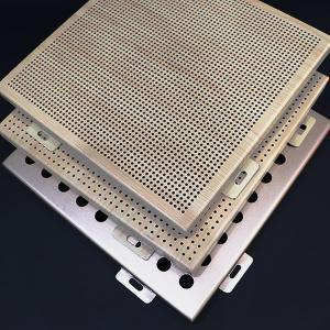 China Golden CNC Cut Curtain Perforated Aluminum Metal Cladding Panels PE / PVDF Powder Coating on sale